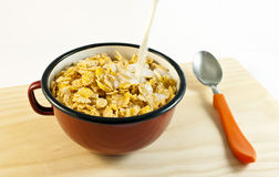 Bowl of cereals with milk Royalty Free Stock Images