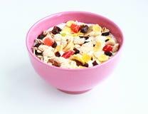Bowl of cereals muesli. Isolated on white background royalty free stock image