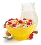 Bowl of cereals muesli on white Royalty Free Stock Photo