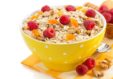 Bowl of cereals muesli on white Royalty Free Stock Photography