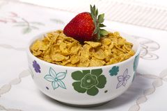 Bowl of cereals with strawberry Stock Photography
