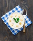Bowl of cheese soup Royalty Free Stock Images