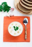 Bowl of cheese soup Stock Images