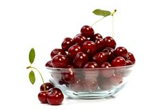 Bowl with cherries Stock Photo