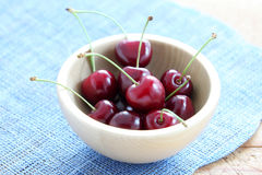 Bowl of cherries Stock Images