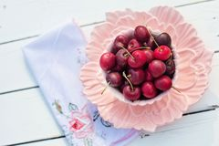 Bowl, Cherries, Close-up Royalty Free Stock Photos