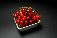 Bowl of Cherries. Cherries Bowl on dark background stock images