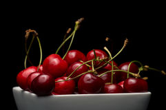 Bowl of Cherries. Cherries Bowl on dark background stock photo