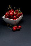 Bowl of Cherries. Cherries Bowl on dark background stock photos