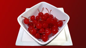 Bowl of cherries. Vectorized image of a bunch of cherries served in a white ceramic bowl over a plate, illustration of many cherries ready to be used, graphic Royalty Free Stock Photos