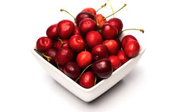 Bowl of Cherries. On white background royalty free stock image
