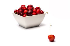 Bowl of Cherries. On white background stock photography