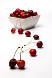 Bowl of Cherries. On white background stock image
