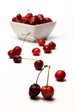 Bowl of Cherries. On white background stock images