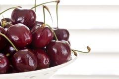 Bowl of Cherries. Cherries in white bowl, fresh-picked Stock Photos