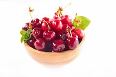 Bowl of cherry fruit Stock Image