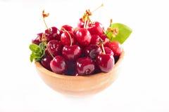 Bowl of cherry fruit Stock Image