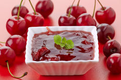 Bowl of cherry jam Royalty Free Stock Image