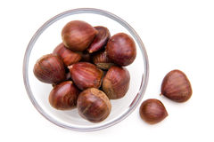 Bowl with chestnuts from above Stock Photo