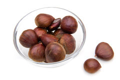 Bowl with chestnuts Royalty Free Stock Images