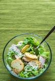 Bowl of chicken Caesar salad Royalty Free Stock Images