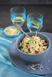 Chicken and corn risotto with spinach Royalty Free Stock Images