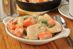 Bowl of chicken and dumplings Royalty Free Stock Images