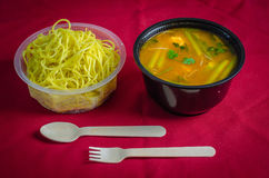 A bowl of chicken gravy with noodles on a red backdrop Stock Image