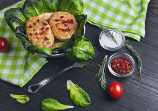 Bowl of chicken meat cutlets Stock Images