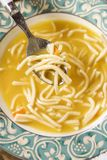 Bowl of chicken noodle soup. Stock Images
