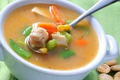 Bowl of Chicken Noodle Soup Stock Images