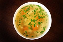Bowl of chicken soup Stock Photos