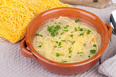 Bowl With Chicken Soup And Noodles Royalty Free Stock Photography