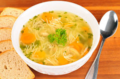 Bowl with chicken soup with vegetables and chicken meat, toasted bread Stock Photography