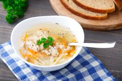 Bowl of chicken soup with vegetables and noodles Royalty Free Stock Photos
