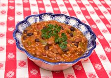 Bowl of Chili with Beans Royalty Free Stock Photography