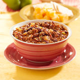 Bowl of chili with beans and beef. Closeup photo of a bowl of chili with beans and beef with a square composition Stock Images