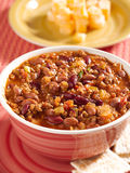 Bowl of chili with beans and beef closeup Stock Photography