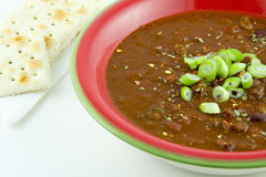 Bowl of Chili with Carne and crackers. Bowl of Chili with Carne topped with chopped scallions Stock Photo