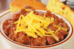 Bowl of chili with cheese Royalty Free Stock Image