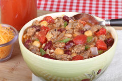 Bowl of Chili Closeup Stock Photo