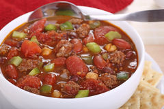 Bowl of Chili Closeup Royalty Free Stock Images