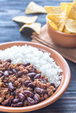 Bowl of chili con carne with white rice Royalty Free Stock Photo