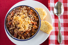 Bowl of Chili With Corn Bread Muffin From Above Royalty Free Stock Images