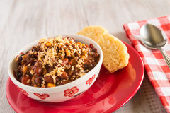 Bowl of Chili With Corn Bread Muffin Red Plate Spoon Stock Images
