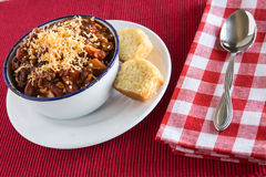 Bowl of Chili With Corn Bread Muffin Stock Images