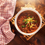 Bowl of chili overhead. Shot with copy space Stock Photography
