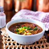 Bowl of chili with scallions and grated cheese Stock Image