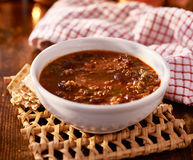 Bowl of chili shot with selective focus Royalty Free Stock Photography