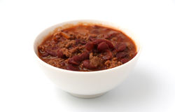 Bowl of Chili. On a white background Royalty Free Stock Image